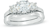 Zales 2-1/5 CT. T.W. Certified Diamond Three Stone Bridal Set in Platinum (H/SI2)