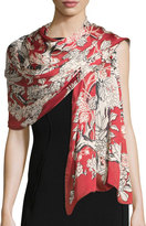 Valentino Enchanted Tree Silk Stole, Melograno (Red)