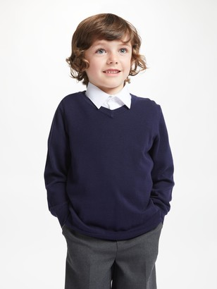 John Lewis & Partners The Basics Cotton V-Neck School Jumpers, Pack of 2, Navy