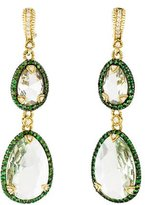 Judith Ripka Diamond, Tsavorite & Quartz Drop Earrings
