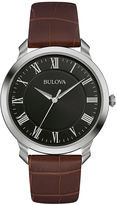 Bulova Classic Mens Brown Leather Strap Watch 96A184