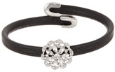 Natasha Accessories Leather Cuff Bracelet with Mini Flower Crystal