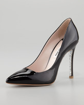 Miu Miu Glitter-Sole Patent Pointed-Toe Pump, Black
