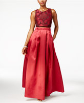 Betsy & Adam Lace Illusion Popover A-Line Gown