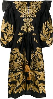 Yuliya Magdych Leaf Embroidered Tassel Detail Dress