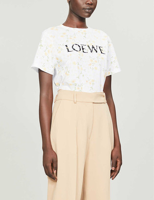 Loewe Branded floral-print cotton-jersey T-shirt