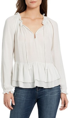 William Rast Women's Aimee Peasant Woven Blouse