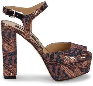 Sergio Rossi Printed Ankle-Strap Platform Sandals