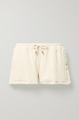 CARAVANA Tunkaan Leather-trimmed Fringed Cotton-gauze Shorts - Cream