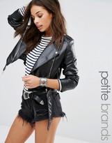 Missguided Petite Faux Leather Biker Jacket