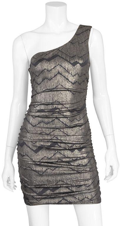 Iz Byer california foil zigzag asymmetrical dress