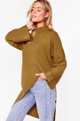 Nasty Gal Womens Cutting Edge Knitted Asymmetric Sweater - Khaki