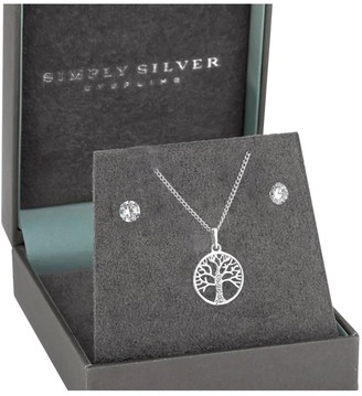 Simply Silver Sterling Silver 925 Tree Of Life Pendant Set