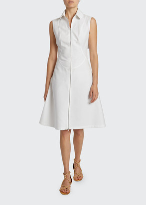 Alaia Sleeveless Cotton Zip-Front Shirtdress