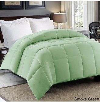Blue Ridge Home Fashions Hotel Grand 300 Thread-Count Sateen Cotton Down Alternative Comforter - Full/Queen - Green/Smoke