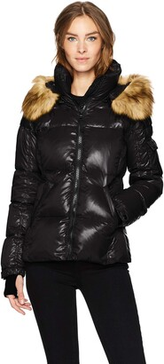 S13 Women's Kylie Down Puffer Coat with Faux Fur Trimmed Hood