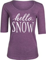 Heather Purple 'Hello Snow' Three-Quarter Sleeve Tee