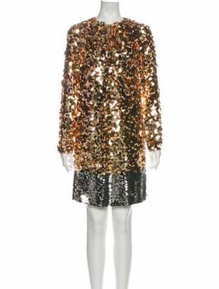 No.21 Colorblock Pattern Knee-Length Dress Gold