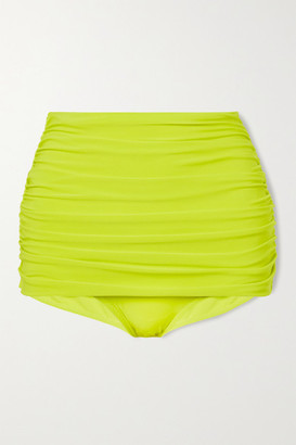 Norma Kamali Bill Ruched Bikini Bottoms - Chartreuse