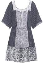 Chloé Printed cotton-blend dress with embroidered tulle