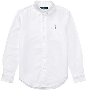 Polo Ralph Lauren Kids Cotton Oxford Sport Shirt (Big Kids) (White) Boy's Long Sleeve Button Up