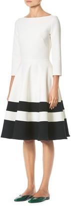 Carolina Herrera Fit & Flare Stripe Cocktail Dress