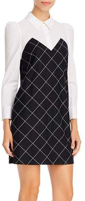 Paule Ka Mixed-Media Windowpane-Check Shirt Dress