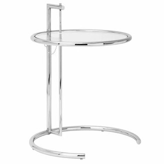 Orren Ellis Orman Adjustable Height End Table With Tempered Glass Top