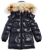 Moncler Girls' Fragont Fur Trimmed Down Puffer Coat - Big Kid