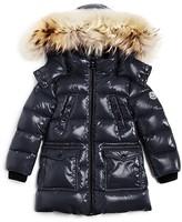 Moncler Girls' Fragont Fur Trimmed Down Puffer Coat - Little Kid