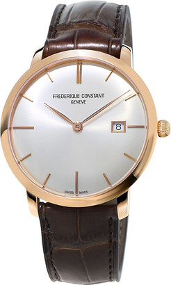 Frederique Constant Mens Stainless Steel Fc-306V4S4 Slimline Gold-Plated And Leather Watch, Size: Large
