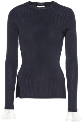 Chloã© Organza-trimmed ribbed-knit sweater
