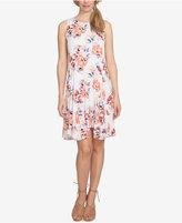 CeCe Garden Bloom Printed Fit and Flare Handkerchief-Hem Dress