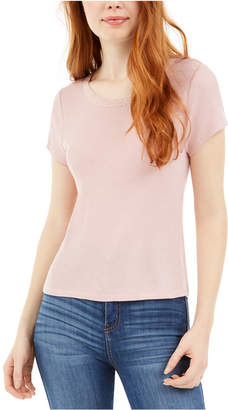 PINK ROSE Juniors' Lace-Trim T-Shirt