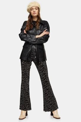 Topshop Black Plisse Flare Pants