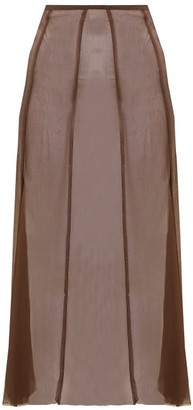 ALBUS LUMEN Aziza Raw-hem Silk Skirt - Brown