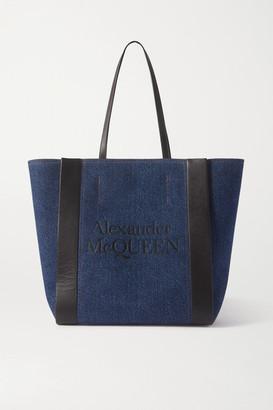 Alexander McQueen Signature Leather-trimmed Printed Denim Tote - Blue