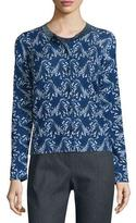 Escada Floral Lace-Print Cardigan, Midnight