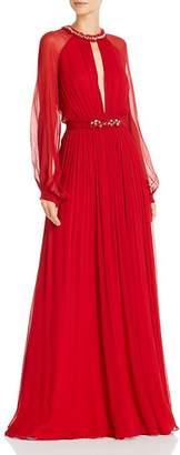BCBGMAXAZRIA Silk Chiffon Keyhole Gown with Swarovski Crystals