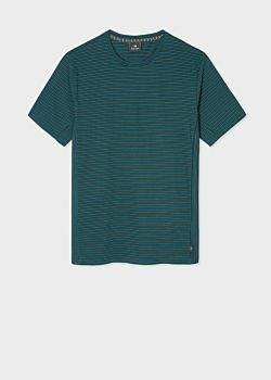 Men's Green And Blue Stripe Organic-Cotton T-Shirt