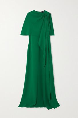 Oscar de la Renta Draped Cape-effect Stretch-silk Crepe Gown - Green