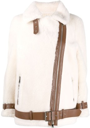 Stand Studio Contrast-Trim Shearling Jacket