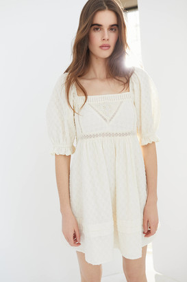 Urban Outfitters Embroidered Puff Sleeve Babydoll Dress