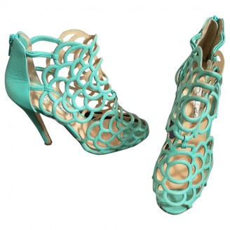 Oscar de la Renta Turquoise Leather Heels