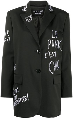 Boutique Moschino Embroidered Logo Blazer