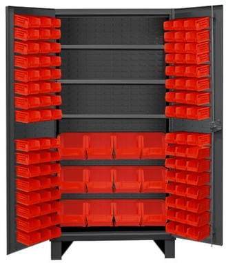"Durham Manufacturing 78"" H x 36"" W x 24"" D Lockable Cabinet Bin Color: Red"