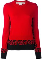 Comme des Garcons rose print detail jumper - women - Wool - S