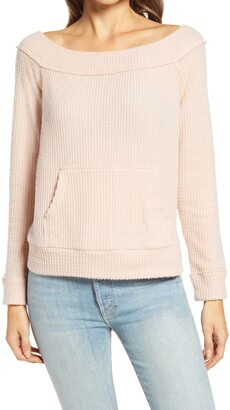 Gibson Off the Shoulder Waffle Knit Top