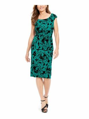 Connected Apparel Womens Green Floral Velvet Sleeveless Jewel Neck Knee Length Sheath Cocktail Dress UK Size:16