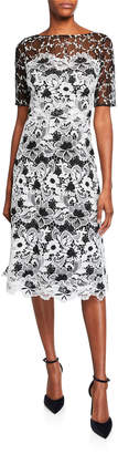 Rickie Freeman For Teri Jon Bateau-Neck Elbow-Sleeve Floral Lace Dress w/ Twin Lace Yoke
